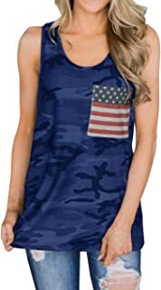 Imily Bela Womens Camo Racerback American Flag Tank Top Loose Summer Workout Tops