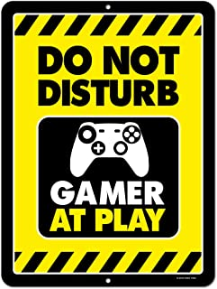 Gaming Room Decor, Do Not Disturb Gamer at Play, 9 x 12 inch Metal Aluminum Novelty Tin Sign, Video Game Room Decor, Game Room Sign