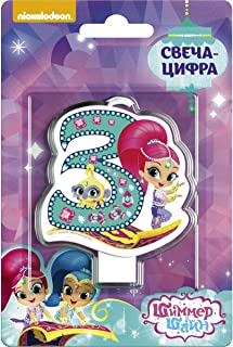 Shimmer and Shine Cupcake Topper Candle 3 Years Baking Dessert Decorations Happy Birthday Holiday Anniversary Jubilee Party Supply Must Have Accessories for Kids Baby Shower Celebration