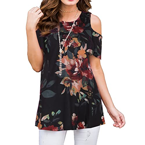 ed5e6869d976c8 PrinStory Women s Short Sleeve Casual Cold Shoulder Tunic Tops Loose Blouse  Shirts