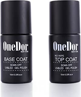 OneDor Gel Top Coat & Base Coat Soak Off Polish Set Kit, UV Led Cured Required (No Wipe Top Coat & Base Coat)