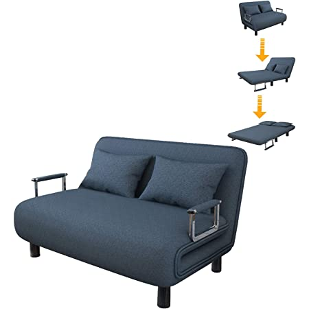 Blue Sofa Bed Twin Size Folding Sofa Bed Portable Sleeper Chaise Lounges with Detachable Armrest,Lroplie Arm Chair Sleeper Leisure Recliner Lounge Couch