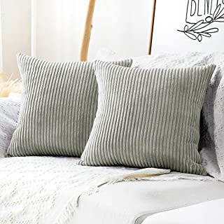 MUDILY One Piece Throw Pillow Covers Striped Velvet Corduroy Couch Pillow Cushion Covers Pillowcases for Sofa Bedroom Car, Light Grey 22 x 22 inch 55 x 55 cm