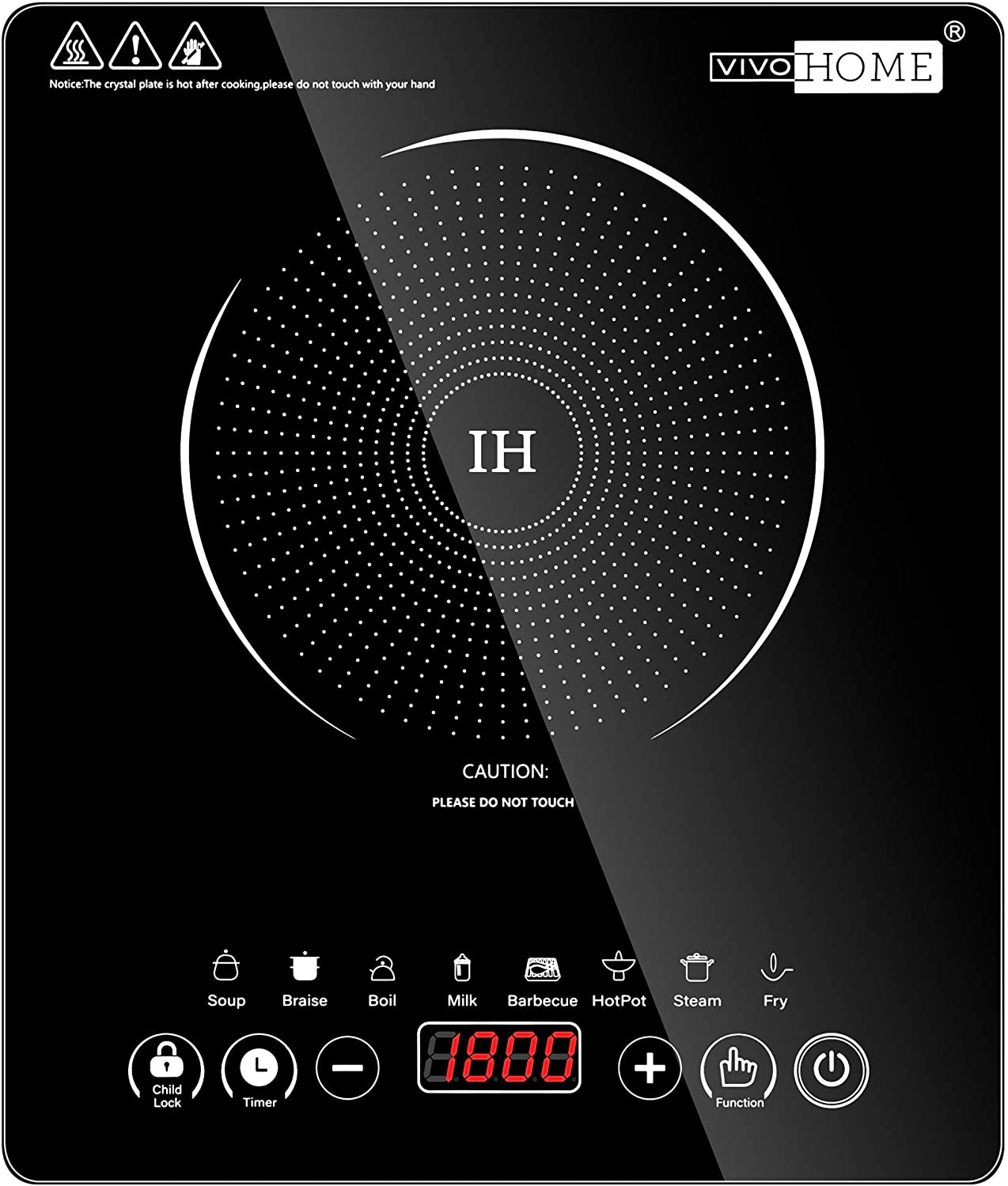 VIVOHOME 120V 1800W Electric Portable Induction Cooktop with 8 Preset Buttons, Sensor Touch Countertop Burner with 180-Min Countdown Timer and 0-24H Timing Start, 140 - 460℉ Temperature Adjustable