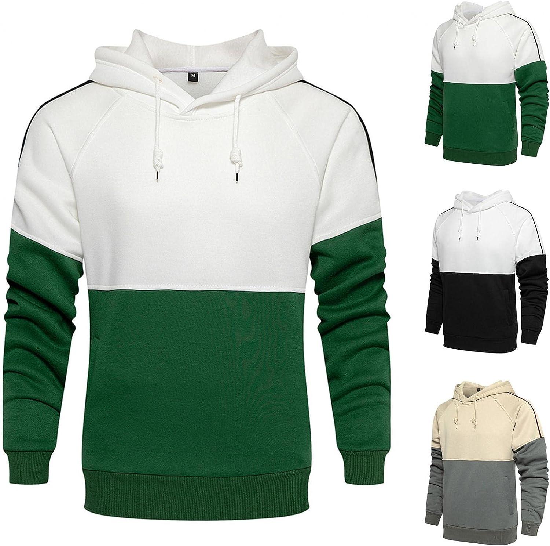 Men's Hoodies Pullover, Men's Hipster Hip Hop Hoodie Colorblock Tshirt Casual Long Sleeve Warm Sweatshirts with Pockets