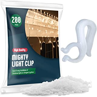 Christmas Light Clips - [Set of 200] Mini Light Clips For Christmas Lights - Light Clips For Gutters - Light Clips For Shingles - Gutter Clips For Hanging Outdoor Lights - USA Made - No Tools Required