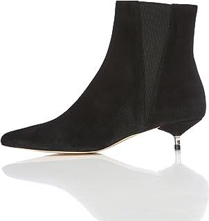 حذاء طويل الساق من الشامواه بتصميم تشيلسي مع كعب القطة للنساء من فايند
