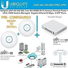 Ubiquiti UAP-AC-HD (x2) 802.11ac UniFi AP PRECONFIG + Switch PoE+ Gigabit 8Port