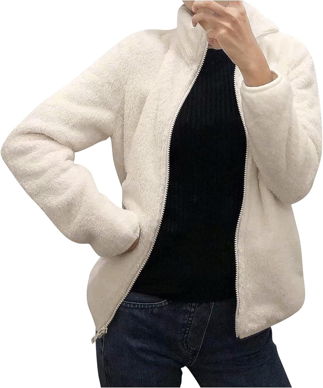Leirke Fuzzy Zipper Jacket Coat for Women High Neck Trench Outwear Winter Warm Windbreaker Wool Fleece Faux Fur Overcoat