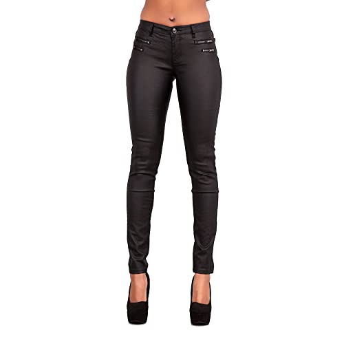 1153357688cb4 Womens Leather Look Trousers Wet Look Leggings Slim Fit Jeans Sizes 6 8 10  12 14