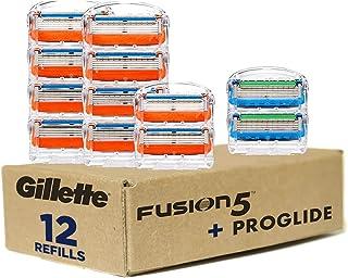 Gillette Fusion5 Men's Razor Blades – 10 Refills + Fusion5 ProGlide Razor Blades - 2 Refills – One Pack of 12 Refills