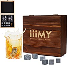 iiiMY Whiskey Stones and Glasses Gift Set, Whiskey Rocks Chilling Stones in Premium Handmade Wooden Box Cool Drinks without Dilution Whiskey Glasses Set of 2, Gift for Dad, Husband, Men