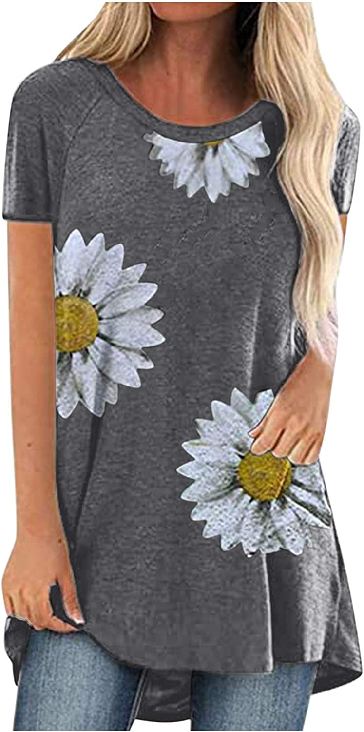 5665 Tops for Women Short Sleeve Summer Fashion Little Daisy Print O-Neck Short Sleeve T-Shirt Tops Casual Loose Blouse