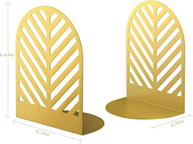 QiMing Leaf Gold Bookends for Heavy Books,1 Pair Metal Book Holders for Office Shelves Adults & Kids Gift(Gold)