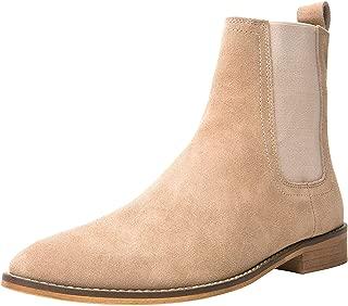 SANTIMON Chelsea Boots Men Suede Casual Dress Boots Ankle Boots Formal Shoes Black Brown Grey
