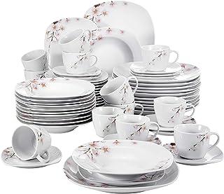 VEWEET, série Annie, Service de Table, 60 pièces, pour 12 Personnes, en Porcelaine