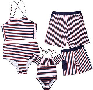 Family Matching Dot Print Swimsuits Mommy Daddy and Me Swimming Bikini Trunks Set Parent-Child Swimwear Bathing Suit