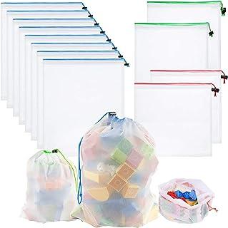 Whispex Toy Storage & Organization Mesh Bags Set of 12(8 Large 2 Medium 2 Small),Baby Toys, Game Pieces, Toy Sets, Bathtub...