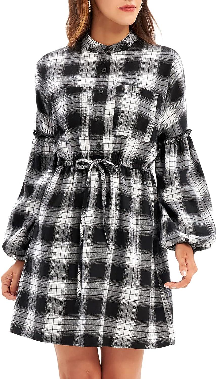 GRACE KARIN Women's Lantern Long Sleeve Grid Midi Swing Dress Casual Empire Waist Plaid Knee Length Dresses