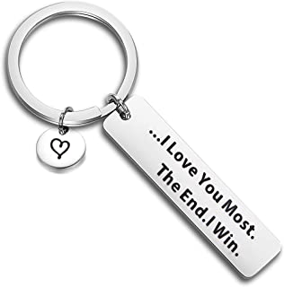 QIIER I Love You Most The End I Win Keychain Valentines Day Boyfriend Girlfriend