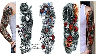 3 sheet volle arm tattoo bovenarm tattoo doodskop ...
