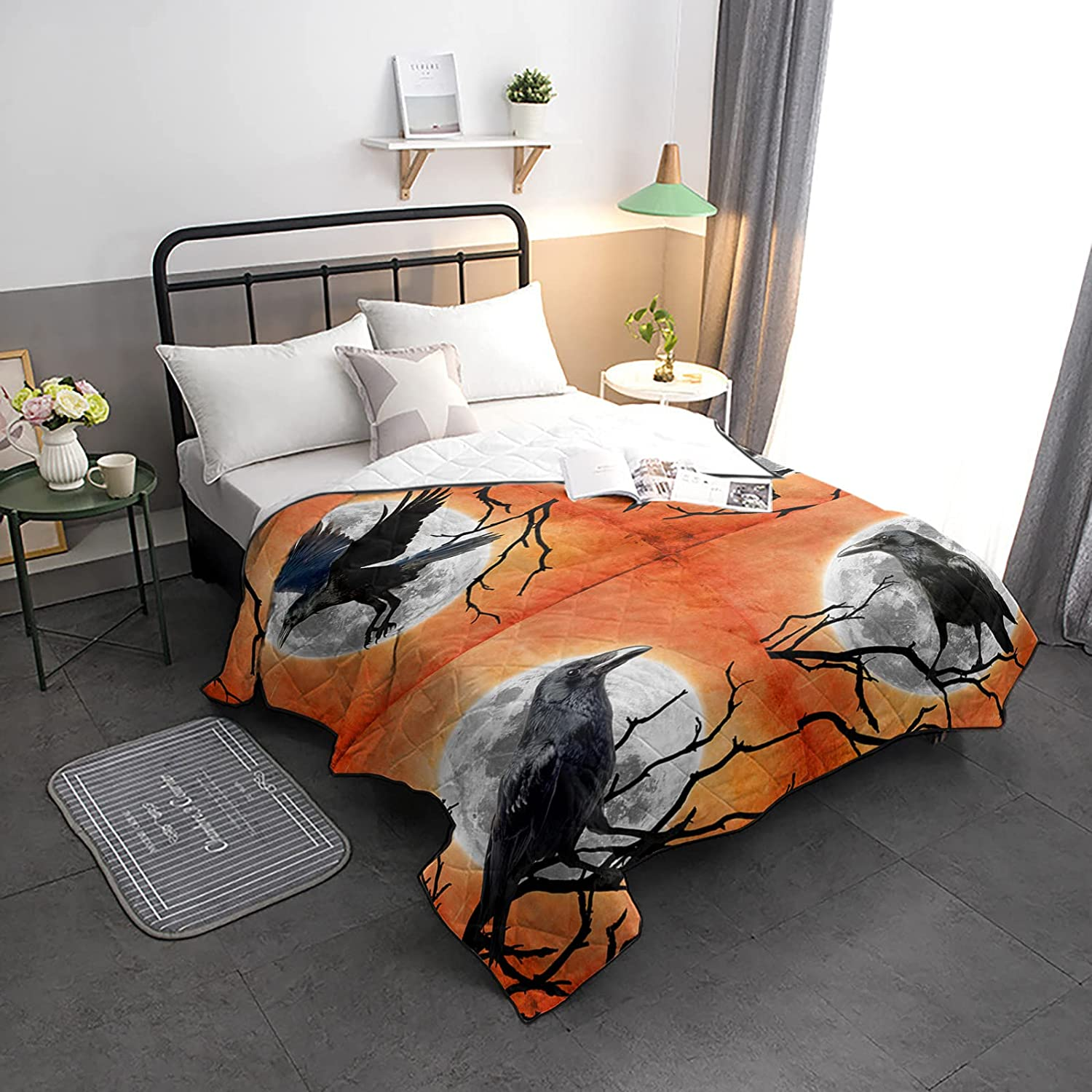 Down Alternative Comforter Halloween Phoenix Mall Max 89% OFF Black Branches Re with Crow