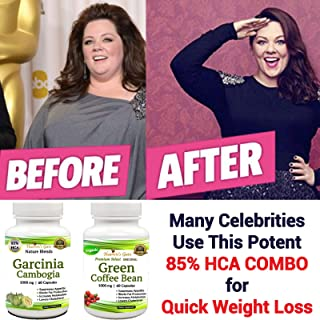 Garcinia Cambogia and Green Coffee Bean Combo - Weight Loss Supplement - Appetite Suppressant - 120 Capsules, 1000 mg - Organic - 85% HCA - Gluten and GMO Free - 100% Pure - Extra Fast Weight Loss