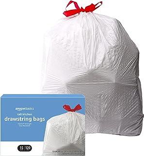 Amazon Basics Flextra Tall Kitchen Drawstring Trash Bags, 13 Gallon, 120 Count