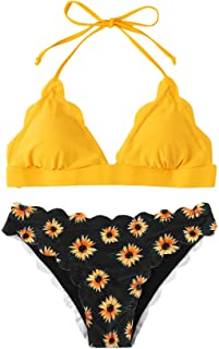 SweatyRocks Women's Sexy Bathing Suits Scallop Halter Bikini Top Floral Print Two Piece Swimsuits