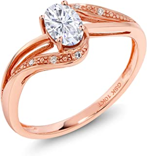 10K Rose Gold Fashion Right-Hand Ring Forever Brilliant (GHI) Oval 0.50ct (DEW) Created Moissanite by Charles & Colvard and Diamond