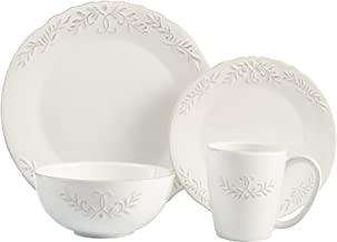 American Atelier 1567005-RB Bianca Laurel Dinnerware Set (16 Piece), White