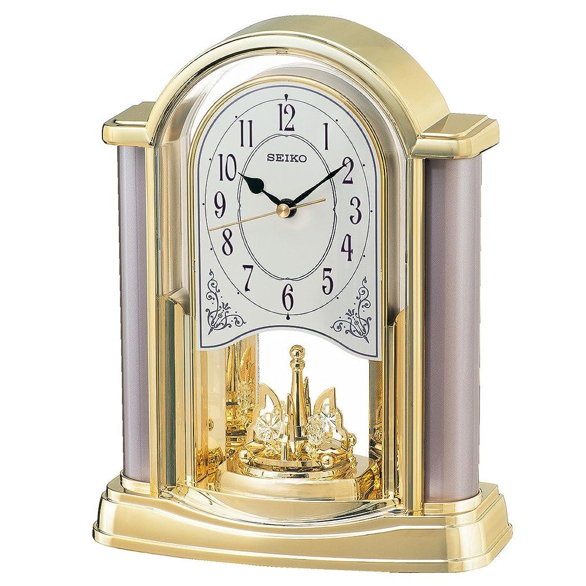 通行料金めったにマージンセイコー クロック 置き時計 アナログ 回転飾り 金色 BY418G SEIKO