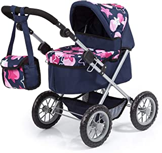 Bayer Design 13069AA Dolls Pram Trendy with Shoulder Bag and Underneath Shopping Basket, Blue, with Stars Pattern