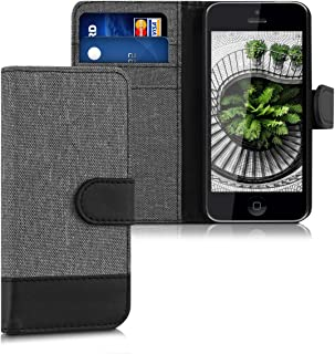 kwmobile Wallet Case for Apple iPhone 5C - Fabric and PU Leather Flip Cover with Card Slots and Stand - Grey/Black