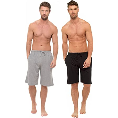 BRANDBUYS Mens Pyjamas Shorts Twin Pack | Lounge Shorts Men | Cotton Pyjama | Soft, Cosy & Comfy Shorts, Mens Pyjamas, Nightwear, Loungewear, PJs, Bottoms