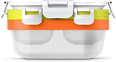 Zoku Neat Stack 7-Piece Food Storage Set, Color-Coded Nesting Containers with Innovative Freezer Pack and Leak-Proof Lids,...