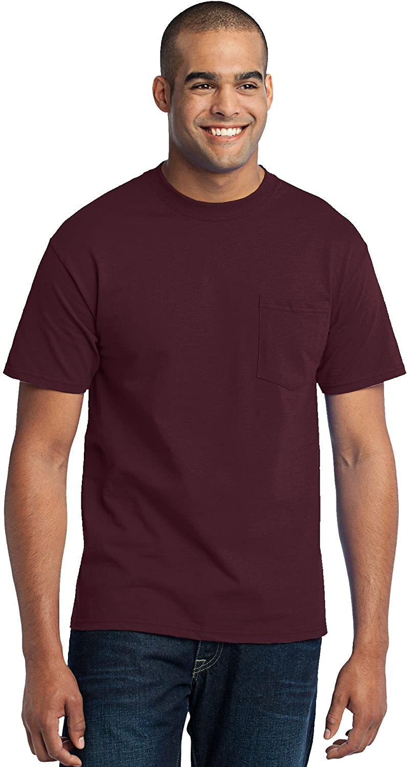 Port & Company Tall 50/50 Cotton/Poly T-Shirt with Pocket>4XLT Athletic Maroon