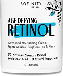 Retinol Cream for Face with Hyaluronic Acid - 3% Maximum Strength Anti Aging Moisturizer - Day or Night Cream - For Wrinkl...