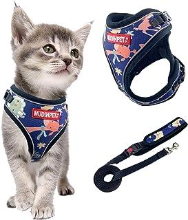 MUDINPET - Pettorina e guinzaglio per gatti, a prova di fuga, con pettorina per animali piccoli, medi e grandi, con guinza...