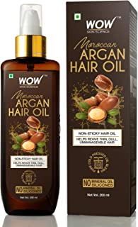 WOW Cold Pressed Moroccan Argan Hair Oil - No Mineral Oil & Silicones - 200mL