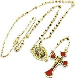 Jesus rosary Collar del Rosario de San Miguel. oro 18K Plateado. Acero inoxidable
