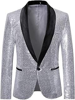 SFE Men's Fashion Suit Jacket Blazer Single Button Sequin Luxury Weddings Party Dinner Prom Tuxedo