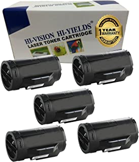 HI-Vision 5 Pack Compatible DELL S2810X High Yield (6,000 Pages, 593-BBMF) Black Toner Cartridge Replacement for H815dw / S2810dn / S2815dn Printers