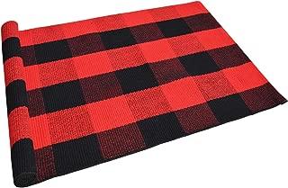 USTIDE Cotton Buffalo Check Plaid Area Rug Red& Black Washable Porch Doormat 23.6