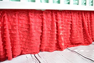 Coral Crib Skirt for Baby Girl Nursery Bedding Dust Ruffle