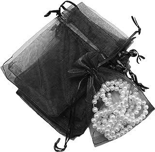 ROSEBEAR Lot de 100 pochettes cadeau transparentes en organza avec cordon de serrage pour bijoux, rouge à lèvres, bijoux, ...