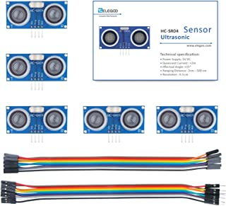 Elegoo HC-SR04 - Módulo ultrasónico de sensor de distancia para Arduino UNO MEGA2560 Nano Robot XBee ZigBee, juego de 5