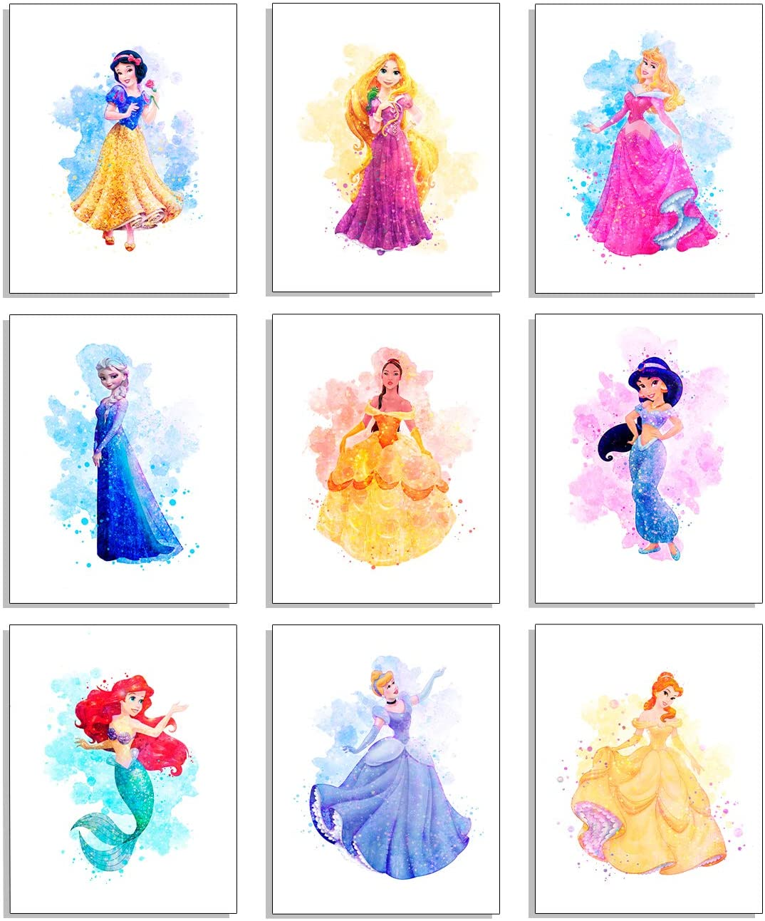 Amazon Com Princess Wall Art Decor Watercolor Prints Unframed Set Of 9 8 Inches X 10 Bedroom Room For Girls Posters