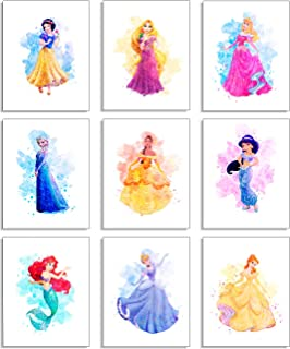 Princess Wall Art Decor Watercolor Prints - Set Of 9 (8 Inches X 10 Inches) Unframed - Princess Bedroom Decor, Princess Ro...