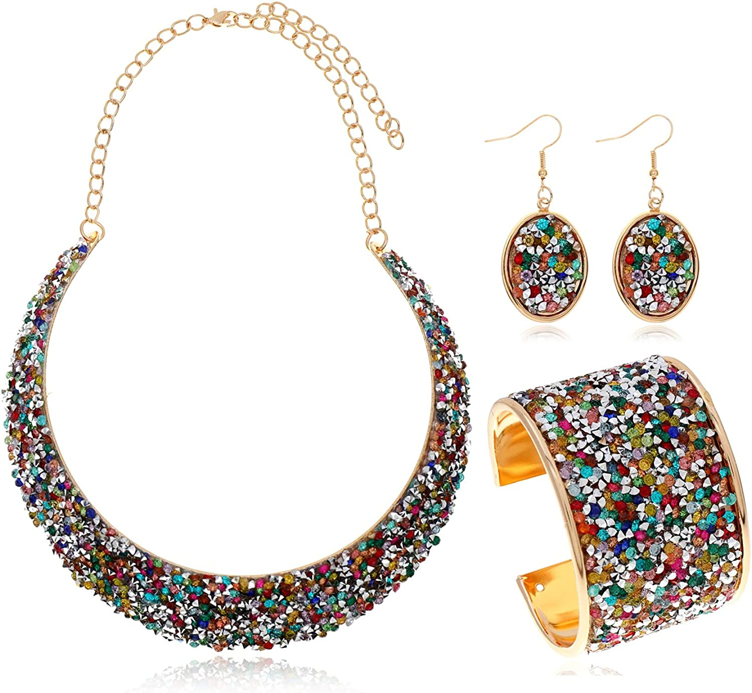 Rhinestone Collar Gold Metal Necklace For Women Statement Collars Necklaces Jewelry accessories Sets